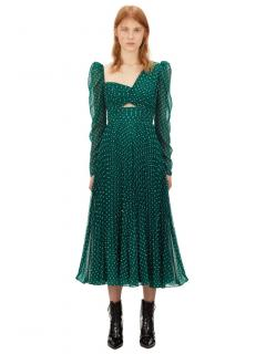 Self Portrait Dark Green Plumetis Midi Dress