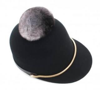 FurbySD Black Wool Felt Cap with Chinchilla Fur Pom Pom
