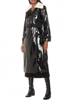 Self Portrait Black Patent Leather Shearling Trench