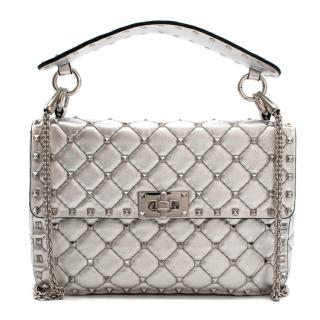 Valentino Garavani The Rockstud Spike Medium Silver Shoulder Bag