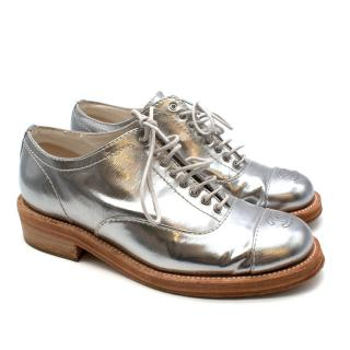 Chanel Metallic Silver Leather CC Brogues