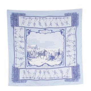 Hermes Les Plaisirs Du Froid Silk Scarf 90