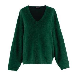 Tom Ford Green Mohair blend V Neck Oversized Knit Sweater