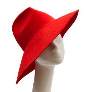 Gucci Red Asymmetrical Wide Brim Rabbit Felt Hat