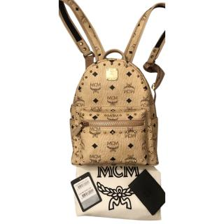 MCM Beige Grained Leather Studded Logo Backpack