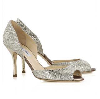 Jimmy Choo Champagne Logan glitter peep-toe sandals