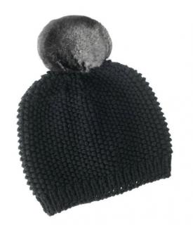 FurbySD Merino Wool Beanie with Detachable Chinchilla Pom Pom