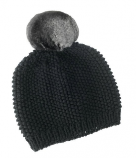 FurbySD Merino Wool Beanie with Detachable Chinchilla Pom Pom
