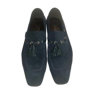 Ferragamo Blue Suede Tassel Detail Loafers