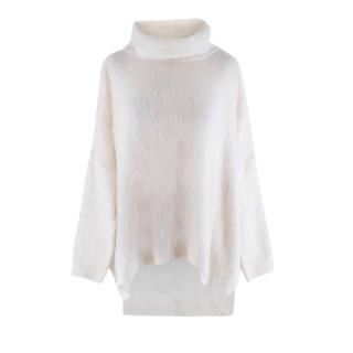 Tom Ford Ivory Mohair Blend Roll Neck Knit Sweater