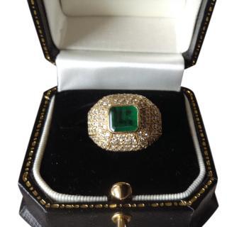 Bespoke 18ct Yellow Gold Pave Diamond & Emerald Bombe Ring