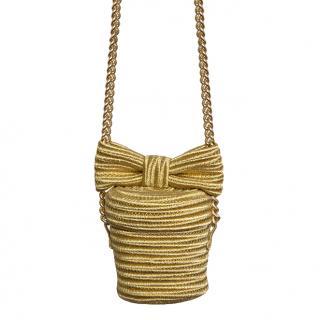 Alexis Mabille Gold Woven Raffia Bow Detail Shoulder Bag