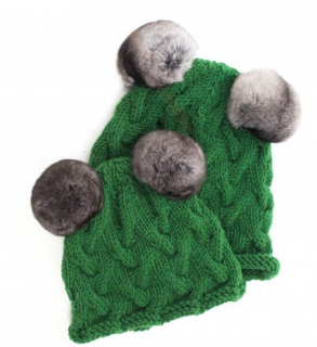 FurbySD Green Cable Knit Set of Two Beanies Chinchilla Fur Pom Pom