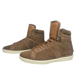 Saint Laurent Fringed Suede Court Classic High Tops