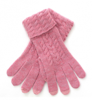 N.Peal Pink Cashmere Cable Knit Gloves