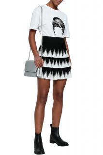 Maje Black & White Tiered Julia Skirt