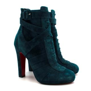 Christian Louboutin Teal Suede Lace-Up Ankle Boots