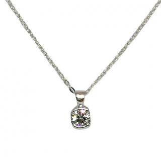 Bespoke Solitaire Diamond 18ct White Gold Necklace