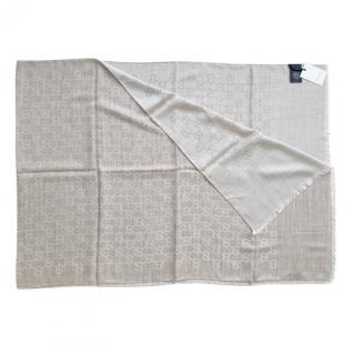 Gucci Beige Wool & Silk Monogram Reversible Scarf