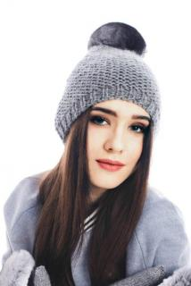 FurbySD Merino Wool Beanie with Chinchilla Pom Pom