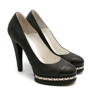 Chanel Black Leather CC Pumps with Chain Detail