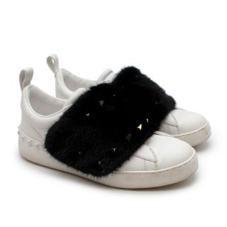 Valentino Mink-fur Rockstud low-top leather trainers