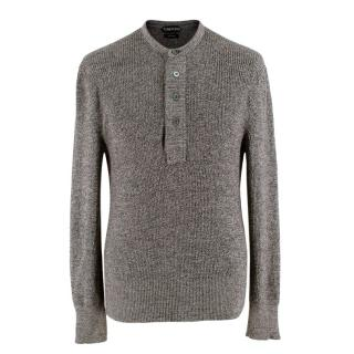 Tom Ford Grey Long-sleeved Knit Wool Top