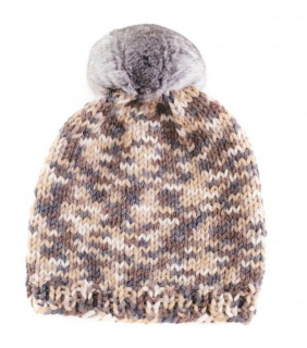 FurbySD Melange Merino Wool Beanie with Chinchilla Pom Pom