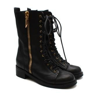 Giuseppe Zanotti Black Leather Lace-up Combat Boots
