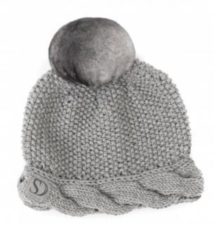 FurbySD Grey Merino Wool Hat with Chinchilla Pom Pom