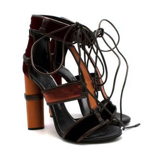 Tom Ford Red & Orange Strap Lace-up sandals