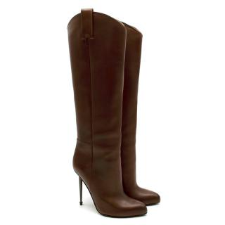 Tom Ford Antique Brown Leather Pin Heel Pull-On Boots