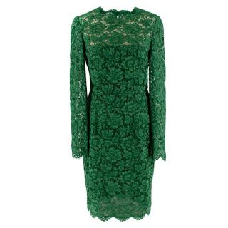 Valentino Green Lace Long Sleeve Midi Dress