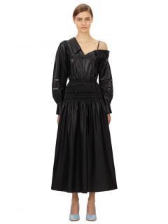 Self Portrait Black Faux Leather Off Shoulder Midi Dress