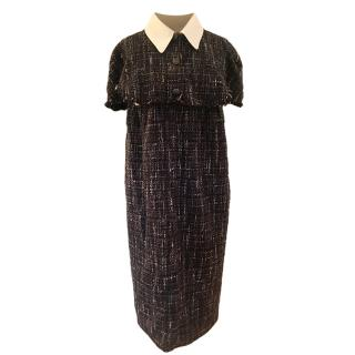 Chanel Tweed Cape Style Dress with Peter Pan Collar