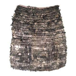 Burberry Grey Layered Feather Skirt