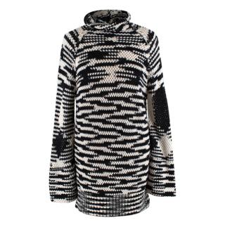 Missoni Black & White Wool blend Knit Roll Neck Sweater