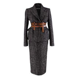 Tom Ford Brown & Black Wool blend Tweed 2-piece Suit