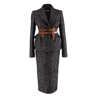 Tom Ford Brown & Black Wool blend Tweed 2-piece Suit