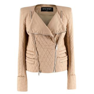 Balmain Beige Quilted Cotton Jacket