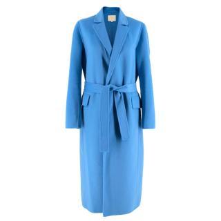 Maje Cerulean Blue Wool blend Belted Single Breasted Coat