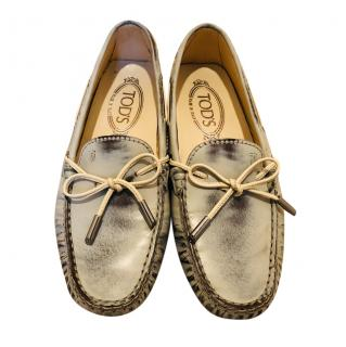 Tod's Distressed Blue Gommino Driving Loafers