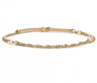 Dolce & Gabbana Faux pearl-embellished metallic leather and chain belt