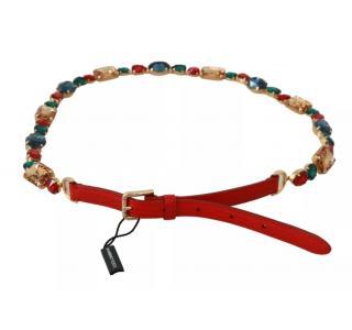 Dolce & Gabbana Red Crystal Embellished Chain Belt