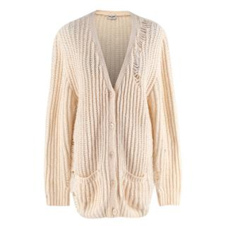 Saint Laurent Cream Knit Button-down Distressed Cardigan