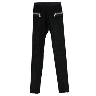Les Chiffoniers Black Suede Leggings with Zip Details