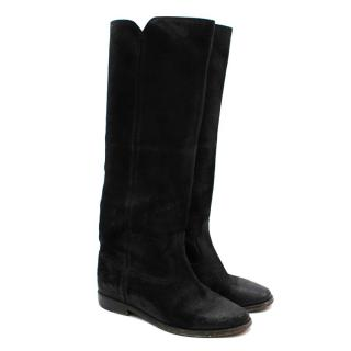 Isabel Marant Black Suede Coated Flat Boots