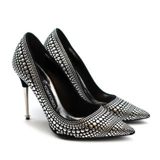 Tom Ford Black/Silver Studded Leather Pumps