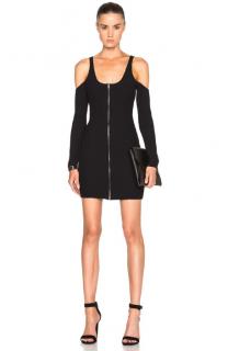 David Koma Black Ribbed Cut-Out Zip Front Mini Dress