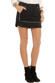 Maje Fringed Studded Suede Mini Skirt